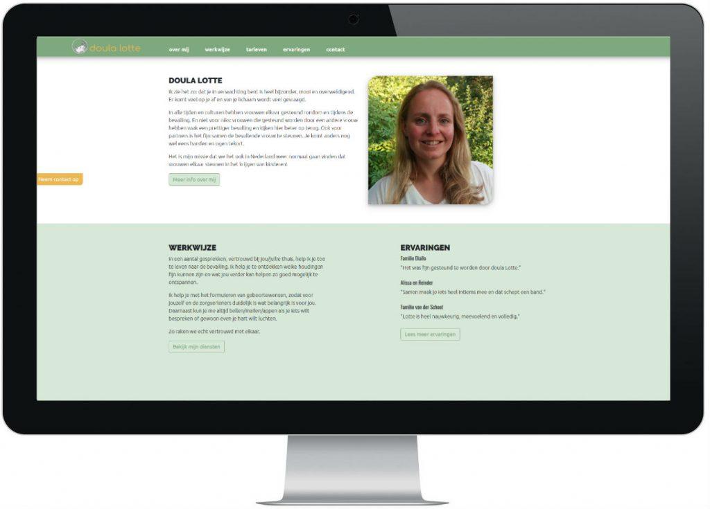 COGA webdesign - website Doula Lotte: staat je bij in zwangerschap en geboorte